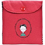 Oksale Girl Women Cute Cotton Diaper Sanitary Pad Napkin Package Holder Case Mini Coin Storage Bags (Red)