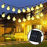 Nasharia Solar Lichterkette, Nasharia 30er LED Solar Lichterkette 8 Modi IP65 Wasserdicht Garten Lichterkette Dekoration Beleuchtung Kugel für Außen, Indoor Gärten, Rasen, Weihnachten Party - 6M, Warmweiß