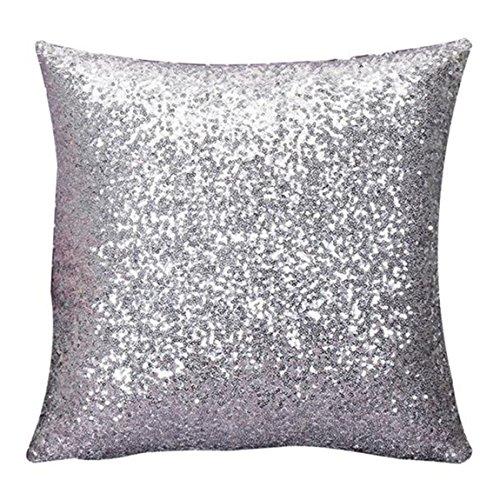 Longra Solido colore Glitter Paillettes tiro cuscino caso Argento