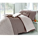 3pc Christian Geometric Chocolate & White Brownish Looking Reversible Style Printed Duvet Cover & Pillowcase Set (Double, Chocolate & White)
