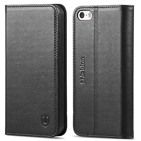iPhone SE Hülle iPhone 5s Hülle iPhone 5 Hülle, SHIELDON Echt Leder Tasche für iPhone SE / 5S / 5 Handyhülle im Bookstyle mit Magnet Kartenfächer Standfunktion, (Tasche Magnete)