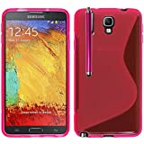 VCOMP Housse Etui Coque Souple Silicone Gel Motif S-Line pour Samsung Galaxy Note 3 Neo/Lite Duos 3G LTE SM-N750 SM-N7505 SM-N7502 + Stylet - Rose