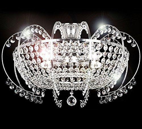 Deckenlampe Kristall Glas Kronleuchter Deckenleuchte Lüster Beleuchtung Wohnzimmer klassisch Design XL 58cm 10 Arm 5xE14 Fassungen