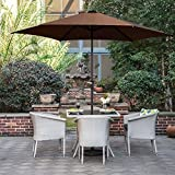 Grand patio Sombrilla Terraza Patio Jardín Piscina Ø 270 cm Impermeable Protección Solar Parasol de Aluminio con Manivela Ventilación Superior, Color Marrón