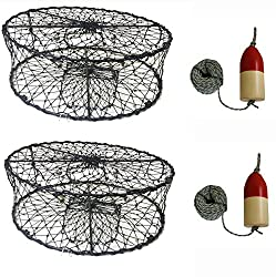 "Kufa 2-pack Sports Foldable Crab Trap With 14"" Redwhite Bullet Floats & 14 X 100' Core Sinking Line Combo"