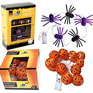 SET Halloween Lichterkette 10x Fledermaus + 5x Spinnen Horror Grusel Farbwechsel Deko Dekoration