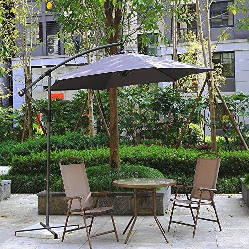 EiioX Ampelschirm Ø300cm Sonnenschirm Schirm Gartenschirm Marktschirm mit Kurbelvorrichtung Sonnenschutz (Grau)