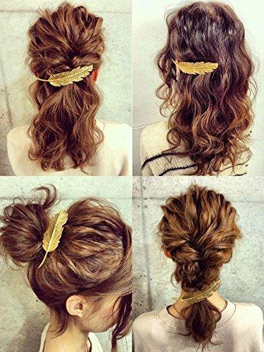 1 Or + 1 Argent Feuilles Plume Style Épingle À Cheveux Bord Clip Punk Femmes Fille Épingle À Cheveux Griffe Barrettes Accessoires