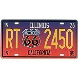 Evilandat, targa metallica Route 66,vintage. Articolo decorativo da parete, ideale per negozi, garage, bar, pub Illinois Cal