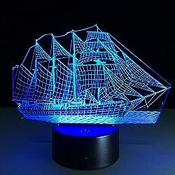 Elenxs Llusión lámpara óptica 3D acrílico táctil lámpara de mesa para dormitorio decoración, LED Lámpara Noche Luz de Escritorio Botón Escritorio Del USB de Tabla Ligera 7 Cambio de Color (Barco) [Clase de eficiencia energética ]