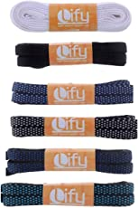 Lify Flat Shoelaces - 8MM (5/16 Inch) Wide - Shoe Laces For All types of Shoes & Sneakers- White, Black, Navy blue/sky blue, Black/white, Royal Blue/Black, Baby blue/Black - 6 Pair Pack