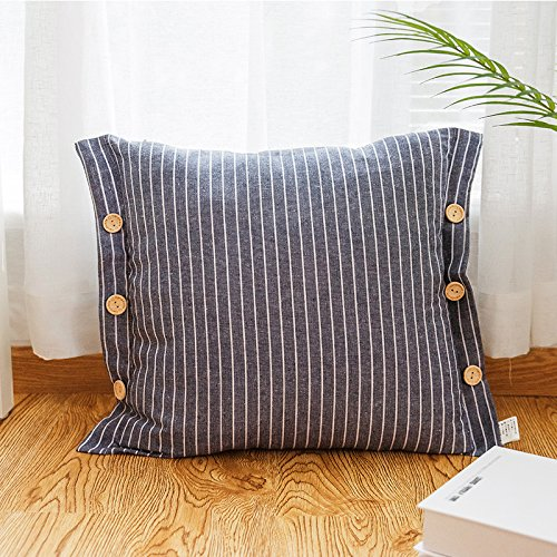 POPRY Einfache, moderne Haushalt Wohnzimmer Sofa Kissen Kissen Kissen Stoff Kunst Nordic gestreifte Kissenhülle Tasten, 45 * 45 Cm (Holding ein Kissenbezug allein), Bächen blaue Taste Kissen