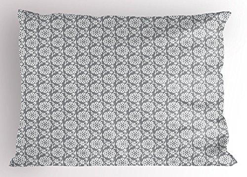Grau und Weiß Kissen Sham, Rich Royal Victorian Garden Muster stilisierten Blütenblätter und Blätter Antik Look, dekorative Standard Queen Size Gedruckt Kissenbezüge, 76,2x 50,8cm, grau weiß (Blatt Weiß Antik Leinen)