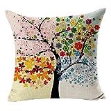 Sunnywill Baum Blumen bedruckter Baumwolle Leinen Sofa Vintage Kissenbezug Kissenbezüge ( Kissen ist nicht im Preis inbegriffen )