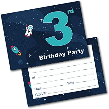 Doodlecards 3rd Birthday Party Invitations Boy Invites Pack Of 20