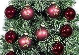 NewDreamWorld 12Stück hängende Dekoration Glas Orb Kugeln Weihnachtsbaum Geschenke Weinrot