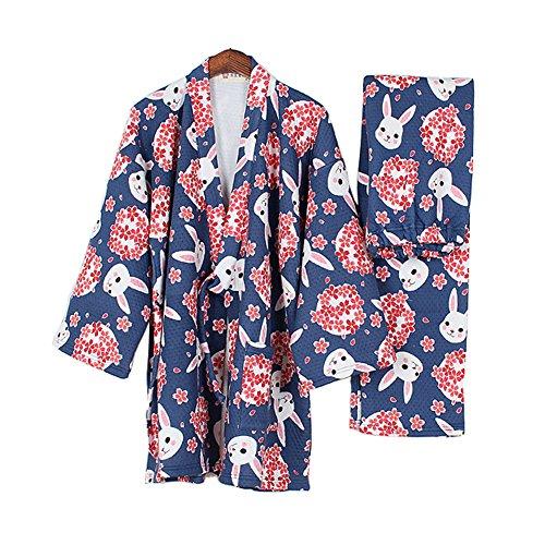 Dicker Frauen im japanischen Stil Pyjamas warme Kimono-Pyjamas Anzug-Bless Kaninchen B (Frauen Japanische Kimono Im)