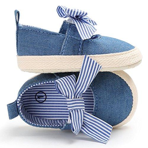 Brightup Baby Schuhe Mädchen Schuhe First Walking Schuhe Striped Bowknot Schuhe Flache Schuhe Blau
