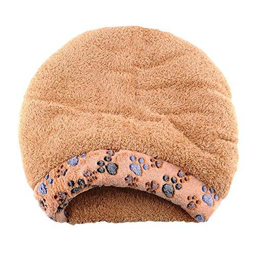 Pecute weiche warme Katzenhöhle Katzebett Schlaftasche Hundebett Haus-Welpen Schlafen Mat Schlafsack kurze Plüsch Braun - 3