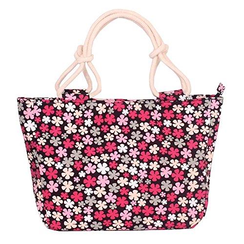 Fortuning's JDS® Strisce rosse di tela alla moda borsa stampato il sacchetto della signora dell'ufficio stile fiori rossi