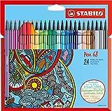 Feutre de dessin - STABILO Pen 68 - Étui carton de 24 feutres pointe moyenne - Coloris assortis
