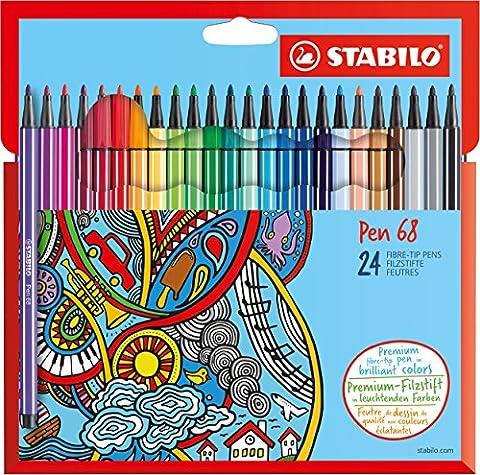 STABILO Pen 68 - Étui carton de 24 feutres pointe moyenne - Coloris assortis