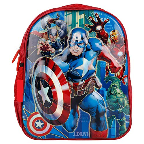 Clastik Kid's Multicolour 14-Inch 3D Embossed Avengers 2-Compartment Backpack (3-10 Years)