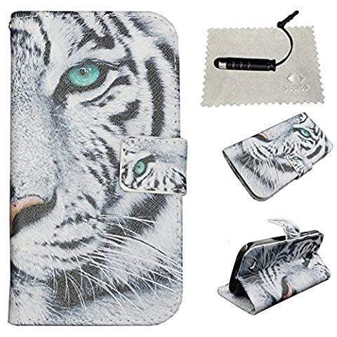 Samsung Galaxy S4 Flip Case,Galaxy S4 Wallet Case,Samsung Galaxy S4 Cover,TOCASO Tiger Gray Patterned Colorful Foldable Kickstand Protective Case with ID Card Holder Slots Pouch Magnet Closure for Samsung Galaxy S4 SIV Folio PU Leather Flip Wallet Cases Bookstyle Scratch Resistance Soft Back Cover