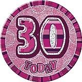 Pink Glitz Age 30 Happy Birthday 6 Inch Badge