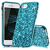 Slynmax Coque iPhone 8 Bleu,Coque iPhone 7/8, Silicone Paillette Strass Brillante...
