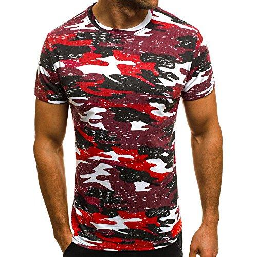 Tyoby Herren T-Shirt Tarnung Nähen Slim Fit Kurzärmliges Oberteil Sommer Lässige Herrenbekleidung Schnitt Tops(rot,S)