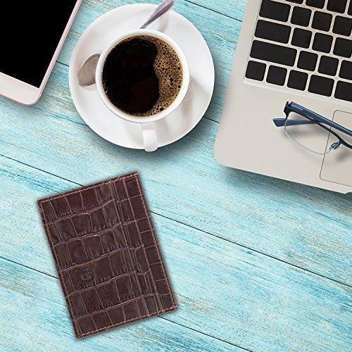 OTTO Dünn Echtes Leder Kartenhalter Brieftasche für Männer - Mehrere Schlitze für Kredit, Lastschrift, Bank und Business-Karten, Geld und Führerschein (Einfach schwarz) Muster dunkelbraun
