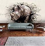 Fototapete 3D Wandtapete Die Wand Der Zerbrochenen Wand Und Die Nashorn Wand, Schlafzimmer-Studie Schmücken Tapete (W)130X(H)80Cm