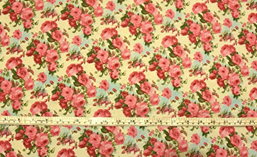 1-fat-quarter-cream-vintage-floral-100-cotton-fabric-red-pink-floral-roses-print-poplin-fabric-green