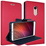 ERIT Xioami Redmi Note 5 2018 64GB Red Flip Cover (Ultra Compact with Stand, Credit Card Slots & Wallet)