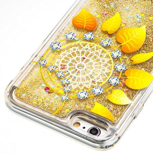 Coque iPhone 6s , Glitter Liquide TPU Etui Coque pour iPhone 6 ,CaseLover Fleur MMotif Mode Etui Coque Dynamic Etoiles Paillettes Sable TPU Slim pour Apple iPhone 6 / 6S (4.7 pouces) Mode Flexible Sou Feuille