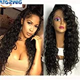 ATOZWIG Japanese Heat Resistant Fiber Long Black Curly Synthetic Lace Front Wigs Black & Brown Afro Kinky Curly Synthetic Lace Front Wig