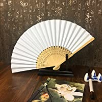 TOOGOO 50pzs /lote Blanco Abanico de mano papel elegante plegable Favores del banquete de boda 21cm (blanco)