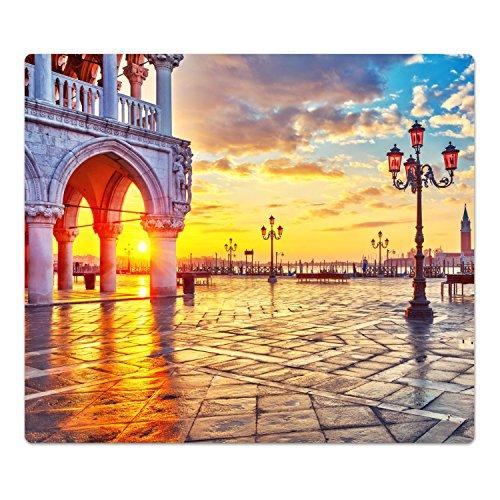 DekoGlas Herdabdeckplatte inkl. Noppen 'Piazza San Marco', gehärtetes Glas, Herd Ceranfeld Abdeckung, einteilig universal 52x60 cm - Marco Gläser
