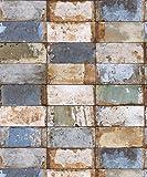 Vlies Tapete Stein Fliesen Riemchen Klinker beige blau gold metallic verwittert NF232023
