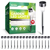 Signature Garden Stainless Steel Mini 16 Pack Solar Garden LED Lights, Battery Lasts 10 Hours, Rust, Scratch and All-Weather