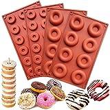 HautHome 4 Pièces Moules à Donuts en Silicone Antiadhésif,Moule à Beignets de Qualité Alimentaire sans BPA pour Muffins, Bisc