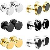 JZZJ Cool 10 mm orecchini da uomo in acciaio INOX donne piercing per orecchio tunnel set di 4 paia(6 Pairs 8mm)