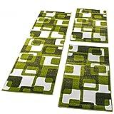 PHC Bettumrandung Läufer Teppich Retro Design Grün GrauLäuferset 3 Tlg, Grösse:2mal 70x140 1mal 70x250