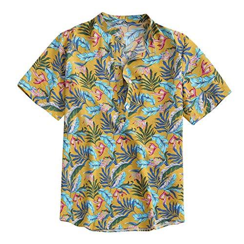 DeHolifer Herren Hemd, Mode Hawaii Stil Männer Blätter Drucken Hemd, Kurzarm Revers Freizeit Herrenhemd Mode Lose Hemd Herbst Top Casual Knopf Hemd Slim Fit Atmungsaktiv Hem