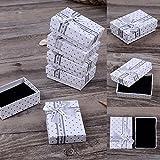Bluelans® 5x scatole regalo per gioielli con fiocchetto, confezione regalo per braccialetti, anelli, collane, orecchini, bianco