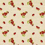 Fabulous Fabrics Dekostoff Natur - Erdbeeren - Meterware ab