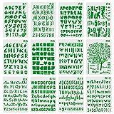 XDLink Set mit 12Schablonen, Zahlen und Buchstaben, Schablone für Alphabet-Malerei, wiederverwendbar, weich, Groß- und Kleinbuchstaben, von 1bis 3cm, für Scrapbooking, Geburtstagskarten, Wanddekoration