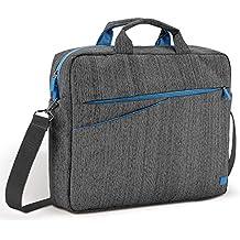 'deleyCON–Funda para portátil/Laptop portátil de hasta 15,6(39,5Cm)–Funda/Carcasa de lino con compartimentos para accesorios y acolchado paredes reforzadas–Gris/Azul