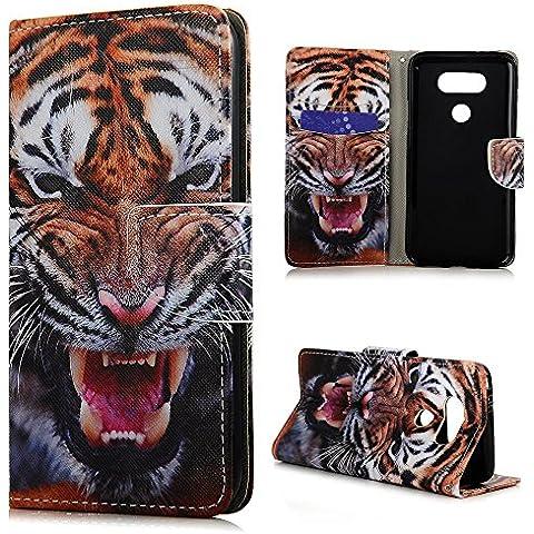 LG G5 Funda, BADALink funda piel Cuero PU original para LG G5 Flip Protective Case Cover (soporte Function, Ranuras para Tarjetas y Billetes), diseño tigre